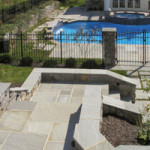 Flagstone formal steps and walls leading down to pool area in Reading PA