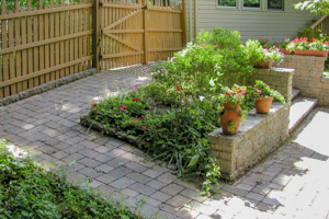 Paver ramp alternative to steps and enclosed planter bed