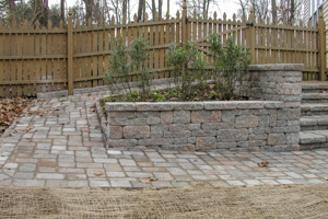 Paver ramp and walls creating planter bed