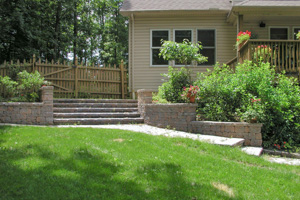 Completed paver backyard steps and walk solution Center Valley PA