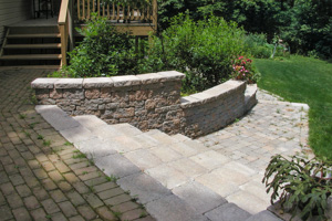Completed hardscape solution of paver steps walls and walk in Center Valley PA