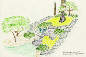 Isometric hand sketch of moss and rock meditation garden