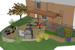 3D model of backyard outdoor living space of analysis and review